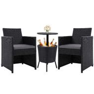 Gardeon Outdoor Furniture Wicker Chairs Bar Table Ice Bistro Cooler Set Bucket Patio Coffee