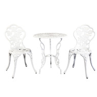 Gardeon Outdoor Furniture Chairs Table 3pc Aluminium Bistro White