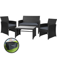 Gardeon Garden Furniture Outdoor Lounge Setting Wicker Sofa Set Storage Cover Black