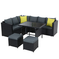 Gardeon Outdoor Furniture Patio Set Dining Sofa Table Chair Lounge Wicker Garden Black