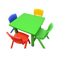 Kids Children Square Activity Table with 4 Chairs Green