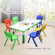 120x60cm Kids Green Whiteboard Drawing Table & 6 Mixed Chairs
