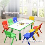 120x60cm Kids Green Whiteboard Drawing Table & 8 Mixed Chairs