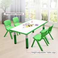 120x60cm Kids Green Whiteboard Drawing Table & 4 Green Chairs