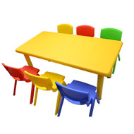 Kids Rectangle Yellow Activity Table with 6 Mixed Coloured Chairs Set