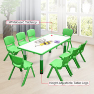120x60cm Kids Green Whiteboard Drawing Table & 8 Green Chairs
