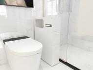 Bathroom Storage Rolling Cabinet Toilet Roll Holder White