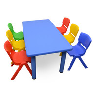 Kids Rectangle Blue Activity Table with 6 Mixed Coloured Chairs Set