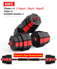 40KG Octagon Vinyl Weight Dumbbell Set with Barbell Bar Easy Clips Black Red