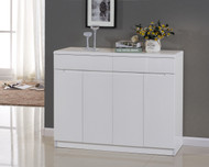 1.2M High Gloss Wooden Shoe Cabinet 4 Doors 35cm Deep White