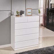 High Gloss White Wooden Tallboy Chest 6 Drawer Cabinet Classic Look #53WH