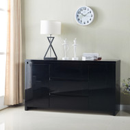 High Gloss Piano Finish Black Designer Buffet Sideboard Cabinet 3 Drawer 4037BK