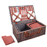 4 Person Picnic Basket with Cooler Bag - Red