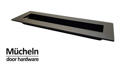 Black Flush Pull Handle 150mm Rectangle side