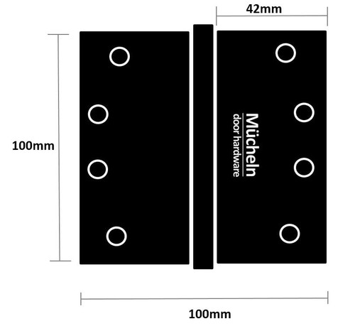 black door hinge dimensions