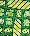 Vlisco Superwax green and yellow line art fabric.