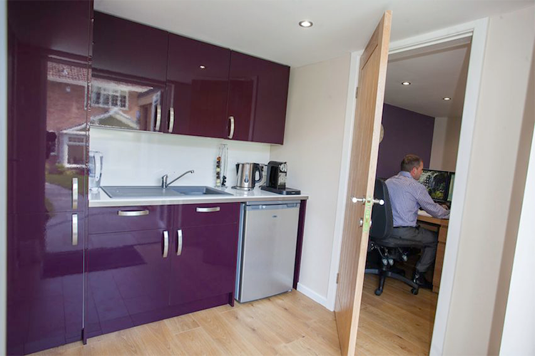garden office with kitchen, garden office cheshire