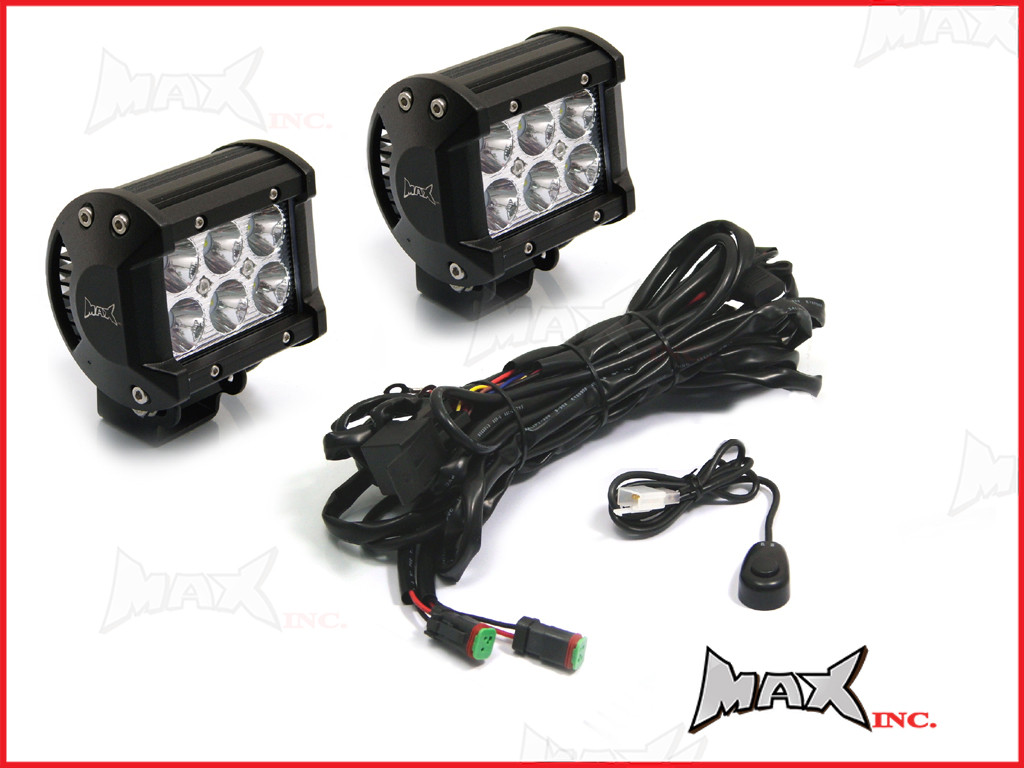 Universal Car 18w CREE LED Spot / Driving Lights + Complete Wiring on led wiring guide, led spark plug wires, led wiring panel, auxiliary controller wire harness, led wiring kit,