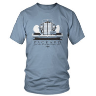 "A two color design on a ""Stonewashed Blue"" colored tag-free Hanes T-Shirt, 6.1 oz. 100% preshrunk cotton."