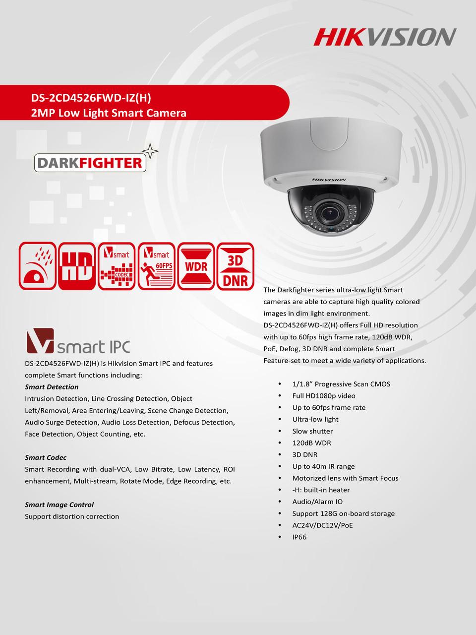 Hikvision DS-2CD4526FWD-IZ 2MP 2 8-12mm motorized VF lens