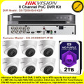 Hikvision 8 Channel PoC DVR CCTV Kit With 6 x 2MP 2.8mm fixed lens PoC Turret Camera & 2TB WD Purple Surveillance HDD