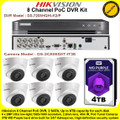 Hikvision 8 Channel PoC DVR CCTV Kit With 6 x 2MP 2.8mm fixed lens PoC Turret Camera & 4TB WD Purple Surveillance HDD