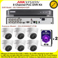 Hikvision 8 Channel PoC DVR CCTV Kit With 6 x 2MP 2.8mm fixed lens PoC Turret Camera & 4TB+4TB (8TB)  WD Purple Surveillance HDD
