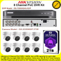 Hikvision 8 Channel PoC DVR CCTV Kit With 8 x 2MP 2.8mm fixed lens PoC Turret Camera & 2TB WD Purple Surveillance HDD