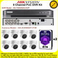Hikvision 8 Channel PoC DVR CCTV Kit With 8 x 2MP 2.8mm fixed lens PoC Turret Camera & 4TB + 4TB (8TB) WD Purple Surveillance HDD