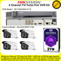 Hikvision 4 Channel PoC DVR CCTV Kit With 4 x 2MP 3.6mm fixed lens 40m IR WDR EXIR PoC Bullet Camera & 2TB WD Surveillance HDD