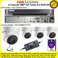 Hikvision 4Ch 5MP TVI Turbo 4.0 DVR DS-7204HUHI-K1 Kit With 4 x 5MP 2.8mm lens 40m IR EXIR Turret Cameras DS-2CE56H1T-IT3 & 1TB WD Purple Surveillance HDD