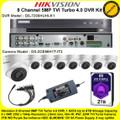 Hikvision 8 Channel 5MP TVI Turbo 4.0 DVR DS-7208HUHI-K1 Kit With 8 x 5MP 2.8mm lens 40m IR EXIR Turret Cameras DS-2CE56H1T-IT3 & 2TB WD Purple Surveillance HDD