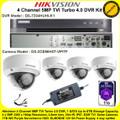 Hikvision 4 Channel 5MP TVI Turbo 4.0 DVR DS-7204HUHI-K1 Kit With 4 x 5MP 2.8mm lens 20m IR EXIR Dome Cameras DS-2CE56H0T-VPITF & 1TB WD Purple Surveillance HDD