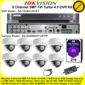 Hikvision 8 Channel 5MP TVI Turbo 4.0 DVR DS-7208HUHI-K1 Kit With 8 x 5MP 2.8mm lens 20m IR EXIR Dome Cameras DS-2CE56H0T-VPITF & 2TB WD Purple Surveillance HDD
