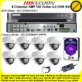Hikvision 8 Channel 5MP TVI Turbo 4.0 DVR DS-7208HUHI-K1 Kit With 8 x 5MP 2.8mm lens 20m IR EXIR Dome Cameras DS-2CE56H0T-VPITF & 2TB WD Purple Surveillance HDD