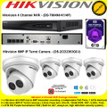 Hikvision 4 Channel NVR DS-7604NI-K1/4P Kit With 4 x 6MP 2.8mm fixed lens 30m IR WDR IP67 IP Turret Cameras DS-2CD2363G0-I & 6TB WD Purple Surveillance HDD