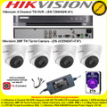 Hikvision 4 Channel Turbo 4.0 Full HD TVI DVR DS-7204HQHI-K1 Kit With 4 x 2MP 2.8mm lens 40m IR Turret Camera DS-2CE56D0T-IT3F & 2TB WD Purple Surveillance HDD