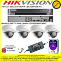 Hikvision 4 Channel Turbo 4.0 Full HD TVI DVR DS-7204HQHI-K1 Kit With 4 x 2MP 2.8mm lens 20m IR Vandal-proof Indoor Dome Cameras DS-2CE56D8T-VPIT & 1TB WD Purple Surveillance HDD