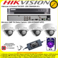 Hikvision 4 Channel Turbo 4.0 Full HD TVI DVR DS-7204HQHI-K1 Kit With 4 x 2MP 2.8mm lens 20m IR Vandal-proof Indoor Dome Cameras DS-2CE56D8T-VPIT & 6TB WD Purple Surveillance HDD