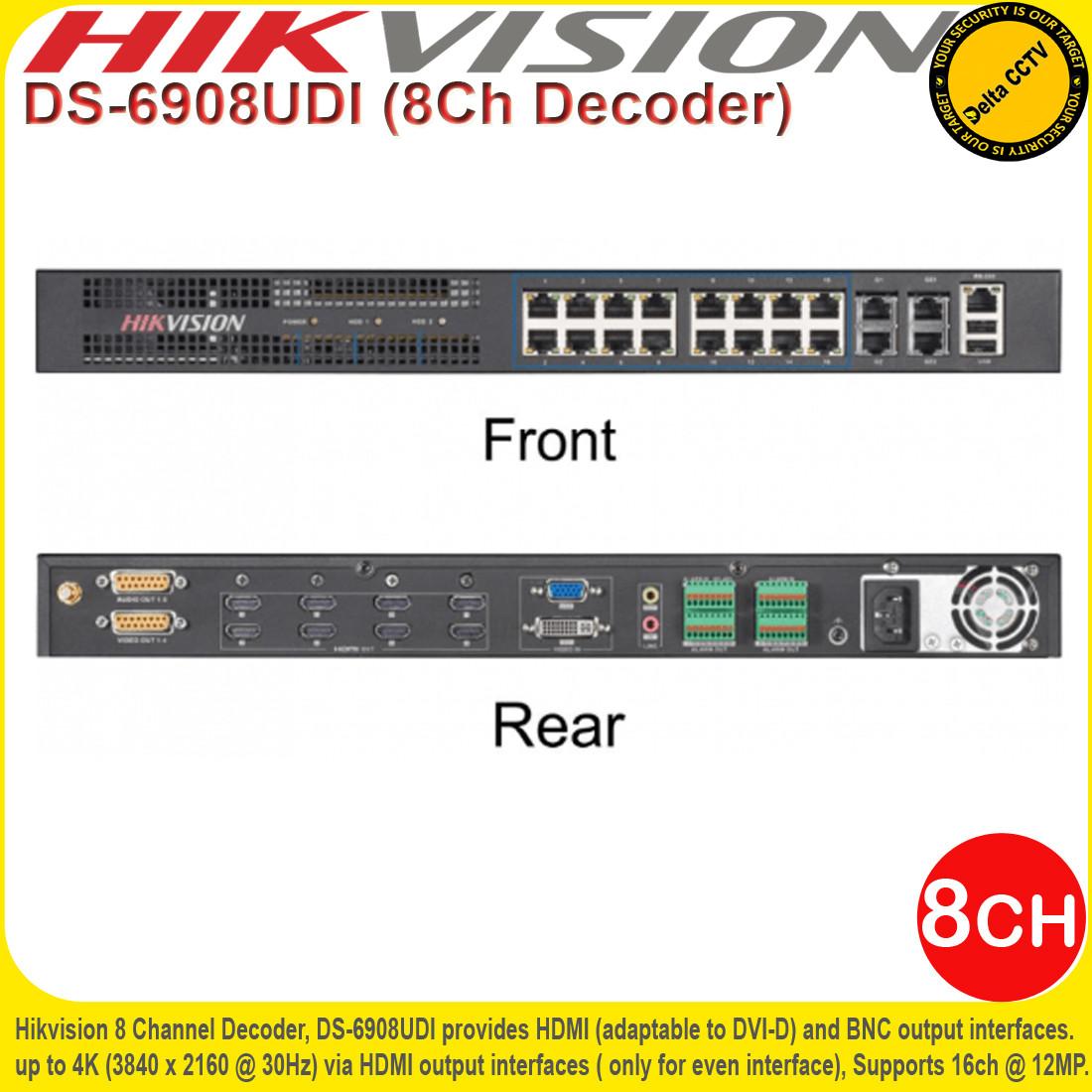 HIKVISION 4K 8 CHANNEL 12MP DECODER H 264 MPEG