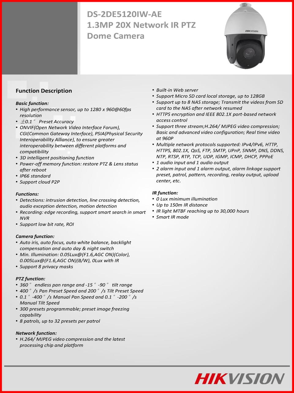 Hikvision DS-2DE5120IW-AE 1 3MP 20X Network IR PTZ Dome Camera