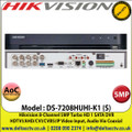 Hikvision - 8 Channel 5MP Audio Via Coaxial Cable DVR, HDTVI/AHD/CVI/CVBS/IP Video Input, 1 SATA Interface, H.265 Pro+/H.265 Pro/H.265 Video Compression - DS-7208HUHI-K1(S)