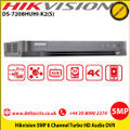 Hikvision DS-7208HUHI-K2(S) 5MP Turbo HD 8 Channel  Audio DVR H.265 video compression,  HDTVI/AHD/CVI/CVBS/IP video input