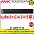 Hikvision 4-Channel 8MP 2 SATA Turbo HD DVR HDTVI/AHD/CVI/CVBS/IP video input, H.265 video compression - DS-7204HTHI-K2