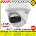Hikvision DS-2CD2345G0P 4MP fixed lens turret network camera with IR, 1.68mm ultra wide angle fixed lens, 3 axis mount, Up to 30m IR distance, Supports on board storage (up to 128GB)