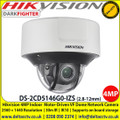 Hikvision DS-2CD5146G0-IZS 4MP DarkFighter Indoor Moto Varifocal Dome Network Camera, 2.8 to 12 mm motor-driven lens, 140 dB WDR, IR range up to 30 m , Built-in microSD/SDHC/SDXC card slot, up to 256 G