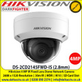 Hikvision DS-2CD2145FWD-IS 4MP 2.8mm Fixed lens Indoor Darkfighter Network Dome Camera with IR & audio/alarm, Up to 30m IR distance, H.265+ compression, Vandal resistant up to IK10, Supports on board storage (up to 128GB)