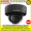 Hikvision DS-2CD2145FWD-IS/Grey 4MP 2.8mm Fixed lens Indoor Darkfighter Network Dome Camera with IR & audio/alarm, Up to 30m IR distance, H.265+ compression, Vandal resistant up to IK10, Supports on board storage (up to 128GB)