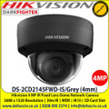 Hikvision DS-2CD2145FWD-IS/Grey 4MP 4mm Fixed lens Indoor Darkfighter Network Dome Camera with IR & audio/alarm, Up to 30m IR distance, H.265+ compression, Vandal resistant up to IK10, Supports on board storage (up to 128GB)
