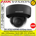 Hikvision 4MP 4mm Fixed lens Indoor Darkfighter Network Dome Camera with IR & audio/alarm, Up to 30m IR distance, H.265+ compression, Vandal resistant up to IK10, Supports on board storage (up to 128GB) - DS-2CD2145FWD-IS/Grey